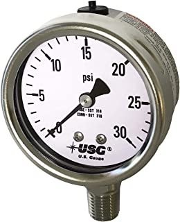 Ametek US Gauge 2.5 英寸(约 6.4 厘米)表盘型号 656 液体填充全不锈钢压力计 0 至 30 PSI