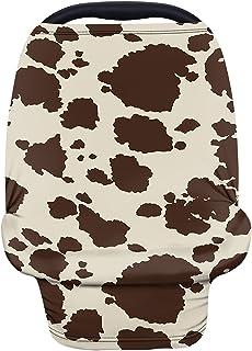 Wanyint 棕色奶牛护理罩汽车座椅罩罩可爱动物毛皮印花汽车座椅罩适合婴儿女孩男孩透气护理罩适合男孩女孩
