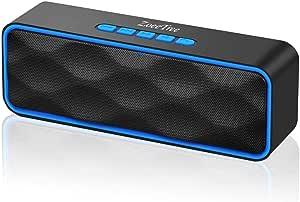 ZoeeTree S1 无线蓝牙扬声器,户外便携式立体声扬声器,带高清音频和增强型基座,内置双驱动程序扬声器,蓝牙 4.2,免提通话,TF 卡槽 - 黑色S1 蓝色