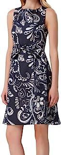 TAHARI 女式*蓝印花无袖宝石领过膝紧身晚礼服尺码 10