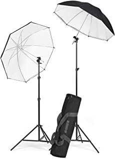 Kaiser Fototechnik 1204 Strobist 2 灯架,2 个反光伞架,2 个倾斜接头,闪光设备*,黑色