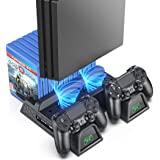 OIVO 常规 PS4/ PS4 超薄/PS4 专业冷却器,多功能垂直冷却支架,PS4 控制器充电器带 LED 指示灯…