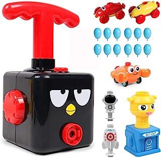 气球动力赛车发射汽车玩具,空气动力学汽车杆玩具,气泵科学实验玩具手推充气器汽车教育有趣的礼物,适合儿童男孩女孩(女孩)