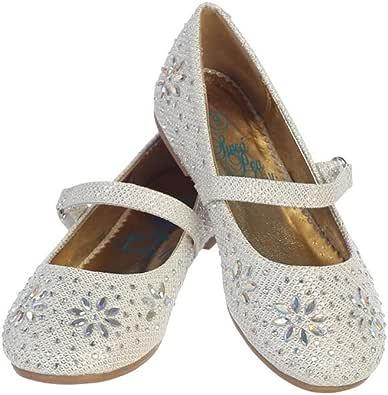女童水钻平底鞋,带鞋带