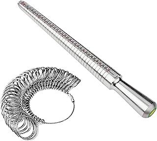 CALIDAKA 戒指尺寸表套装金属戒指芯轴测量戒指尺寸工具环芯轴尺寸手指测量蓝宝石套件戒指棒测量工具手指计珠宝商尺寸(尺码:美码 0-15)