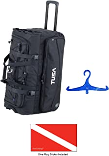 TUSA 潜水装备滚筒行李袋黑色带 DiveCatalog's 贴纸和蓝色 BCD 和调节衣架