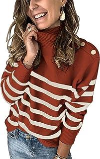 KIRUNDO 2020 冬季女式长袖针织毛衣高领条纹印花宽松套头上衣,装饰金属纽扣