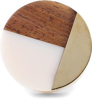 带额外螺栓的橱柜把手   一套 6 个木质、树脂和黄铜拉手 带金属背板   手工家具五金手柄 适用于厨房、抽屉、梳妆台   圆形橱柜把手带螺丝