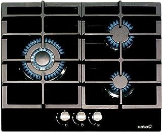 Cata – 型号 LCIB 6021 BK – 燃气灶 – 宽 58 厘米 – 铸铁烧烤 / 燃烧器 功率6.25 kW,1000 W,玻璃,黑色