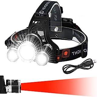 Victoper 头灯(*设计),4 种模式和红色警示的变焦头灯,6000 流明超亮免提头灯,可充电用于跑步、露营、钓鱼、徒步、防水