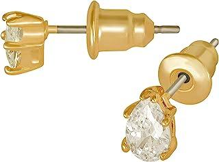Lifetime Jewelry 5 毫米方晶锆石泪滴耳钉,24k 真金