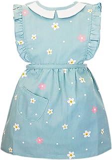 可爱花卉裙围裙带防水衬里罩衣围兜 适合吃画烘焙年龄 6 个月至 4 岁