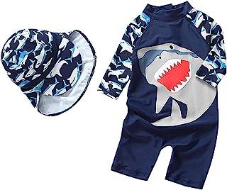 婴儿幼儿男孩女孩连体泳衣套装鲨鱼泳衣*服带帽子 UPF 50+