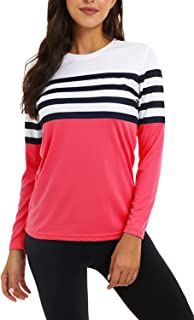 CNFUFEN 女式 T 恤长袖 UPF 50+ *指数 SPF 速干衬衫户外徒步跑步钓鱼锻炼上衣