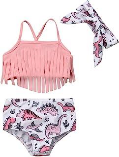 女婴泳装比基尼流苏上衣恐龙底裤头带 3 件泳装沙滩装泳衣