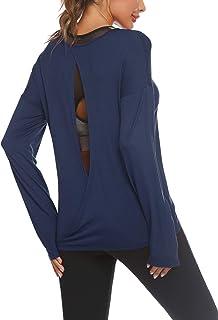 Zeagoo 女式长袖针织衬衫露背休闲上衣垂褶女衬衫加大码