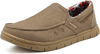 FANTURE 男式乐福鞋一脚蹬运动鞋休闲舒适轻质旅行弹力帆布鞋 -U419XXXME001-20-Khaki-47