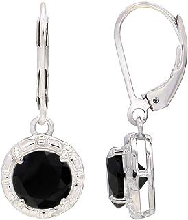 UTOPIA JAIPUR 925 纯银爪镶耳环圆形切割白色镀铑吊坠耳环 适合女孩和女士