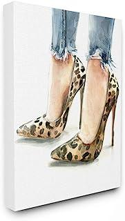 Stupell Industries 猎豹印花高跟鞋 女式做旧牛仔绘画,由 Jennifer Paxton Parker 设计墙面艺术,40.64 x 50.86 厘米,帆布