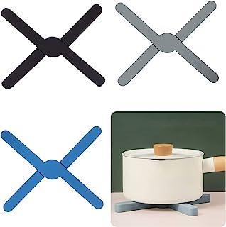 3 件装 可折叠 Trivets 硅胶防滑折叠硅胶隔热垫 可折叠硅胶三脚架 硅胶锅架节省空间 易于使用