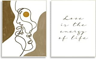 Stupell Industries Love is Energy Phrase Abstract Faces 情侣线条,Birch&Ink Wall Plaque,2 件,每个 10 x 15,棕色