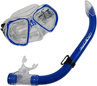 Scuba Choice Comocean Youth 儿童蓝色硅胶浮潜面具和潜水套装