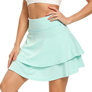 WOWENY 女式运动短裙运动褶皱网球裙,带口袋,适合跑步高尔夫锻炼