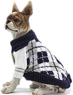 "BOBIBI 狗毛衣格子宠物猫冬季针织衫保暖衣服 *蓝 X-Small(Back Length 8"")"