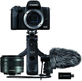Canon 佳能 EOS M50 Mark II Essential Streaming Kit 相机+镜头 EF-M 15-45mm F3.5-5.6 是 STM + 立体声麦克风 + 握柄 三脚架 + Atomos Connect 4K 视...