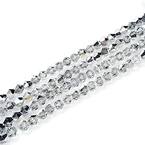双锥体水晶间隔珠耳环手链项链脚链吊坠钥匙扣拉链瑜伽首饰制作配件用品 银色灯罩 8mm