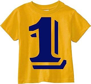 定制王国男孩和女孩 2.54 厘米数字 1 蓝色印花 First 生日 T 恤