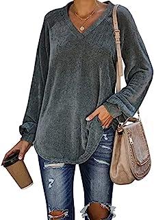 女式灯芯绒衬衫休闲宽松套头长袖性感 V 领衬衫保暖天鹅绒束腰上衣 S-XXXL