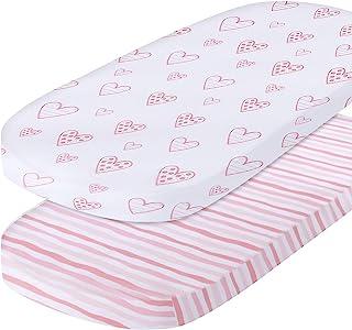 摇篮床单兼容适合 SNOO Sleeper 婴儿床床垫,粉色印花