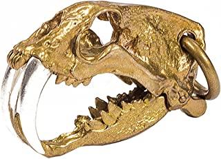 老虎骷髅吊坠动物头剑齿吊坠朋克摇滚男士深色珠宝男士可移动下巴黄铜/925 纯银铜制 COPPERTIST.WU