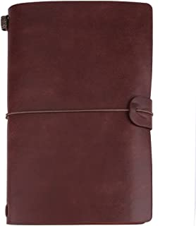 TOPINCN 皮革袖珍笔记本可再填充旅行日记高级 PU 皮革经典笔记本,144 页用于笔记日记记记(青铜)