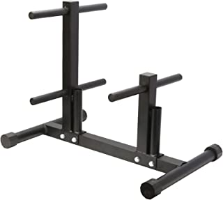 Edudif 1 英寸(约 2.5 厘米)重量板架树哑铃盘架奥林匹克重量存储支架,适用于家庭健身房,带 2 个标准杆支架,*大承重 490 磅(约 199.6 千克)