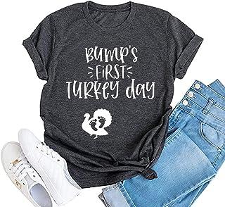 Bump's First Turkey Day 衬衫女士感恩节孕妇衬衫可爱土耳其图案孕妇秋季 T 恤上衣