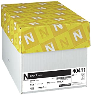 "Neenah Exact Index 卡片纸,8.5"" x 11"",10 磅/199 gsm,白色,94 张亮度,2000 张(40411)"