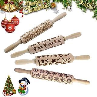 圣诞木制擀面杖,雕刻压花擀面杖,带圣诞树鹿图案,用于烘焙压花饼干,擀面杖厨房工具(14 英寸)