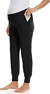 V VOCNI 孕妇运动裤女式抽绳腰慢跑裤带口袋休闲裤,适合瑜伽锻炼跑步