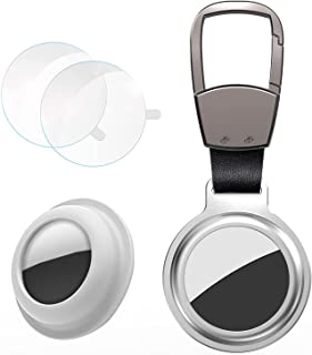 KAHITE 铝合金磁性 AirTags 保护套带保护膜(2 个)带硅胶保护盖(一个)360° *保护简单轻便方便的钥匙扣(白色)