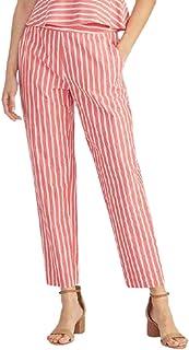 Rachel Roy 女式珊瑚色条纹直筒裤尺码 10