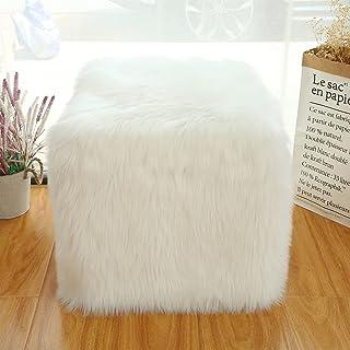 未填充的Ottoman Pouf 枕套,人造毛皮白色长毛脚凳立方体,45.72 x 45.72 x 45.72 厘米立方体袋座椅,落地豆袋椅,羊皮脚凳存储解决方案,适用于客厅,卧室(白色)