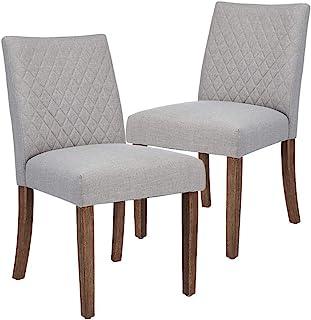 CangLong 软垫餐椅 适用于厨房 房间 侧椅 带木腿 2 件套 灰色