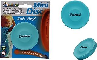 alldoro 63054 3 件套 迷你光盘投掷盘,碟直径约为6.5 厘米柔软硅胶制成,袖珍圆盘小,投掷游戏范围可达 60 米,范围户外运动,适合儿童,成人和狗,蓝色