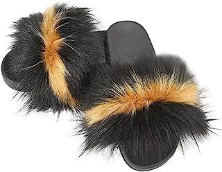 Jancoco Max 人造毛皮拖鞋 - 女式毛皮蓬松拖鞋毛皮拖鞋凉鞋露趾室内室外