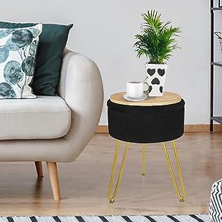 Footrest 凳子 Ottoman 圆形天鹅绒存储 现代软垫梳妆台 脚凳 侧桌椅 梳妆椅 带金色金属腿托盘 咖啡桌(黑色)
