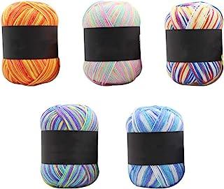 Healifty 5件套棉线钩针编织毛线用于DIY手工编织(粉色黄*水蓝色天蓝色)
