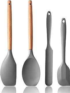 硅胶抹刀套装,硅胶抹刀和木制手柄 4 件套烤盘套装,橡胶抹刀,适用于烘焙、烹饪、混合和服务,不粘高耐热,不含 BPA 硅胶刮刀套装