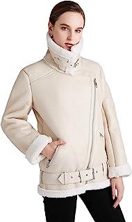冬季女式人造皮革羊皮夹克摩托骑行短外套羊毛毛领拉链夹克保暖厚外套